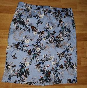 J. Crew Blue Floral Print Pencil Skirt Size 14